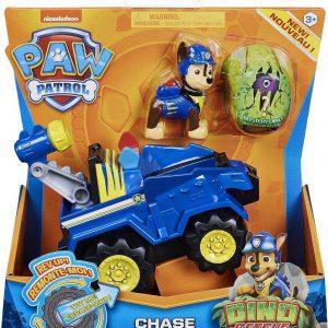 Paw Patrol Chase deluxe voertuig dino rescue set met mysterie dino