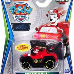 Paw Patrol auto die-cast voertuig - Marshall Mission Paw brandweerauto - 7 cm