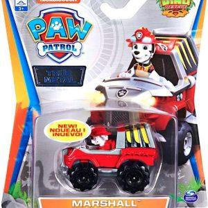 Paw Patrol auto die-cast voertuig - Marshall Dino Rescue brandweerauto - 7 cm