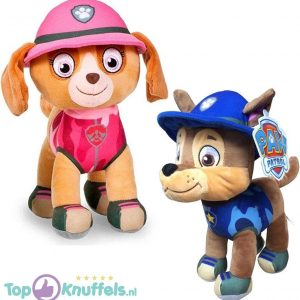 Chase + Skye Paw Patrol Pluche Knuffel Jungle Rescue 30 cm | Paw Patrol Plush Toy | Speelgoed knuffeldier knuffelpop voor kinderen | Hond / Dog knuffeltje | Friends: Marshall – Chase – Skye – Rocky – Rubble – Zuma – Tracker – Everest 30cm