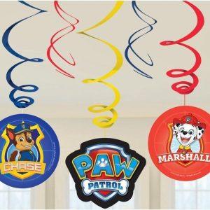 12x Hangdecoratie/rotorspiralen in Paw Patrol thema - Thema feest decoratie voor kinderfeestje of verjaardag