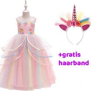 Unicorn Jurk | Eenhoorn Jurk | Prinsessenjurk Meisje | Verkleedkleren Meisje |maat 104/110| Prinsessen Verkleedkleding | Carnavalskleding Kinderen |+ GRATIS Haarband | Roze