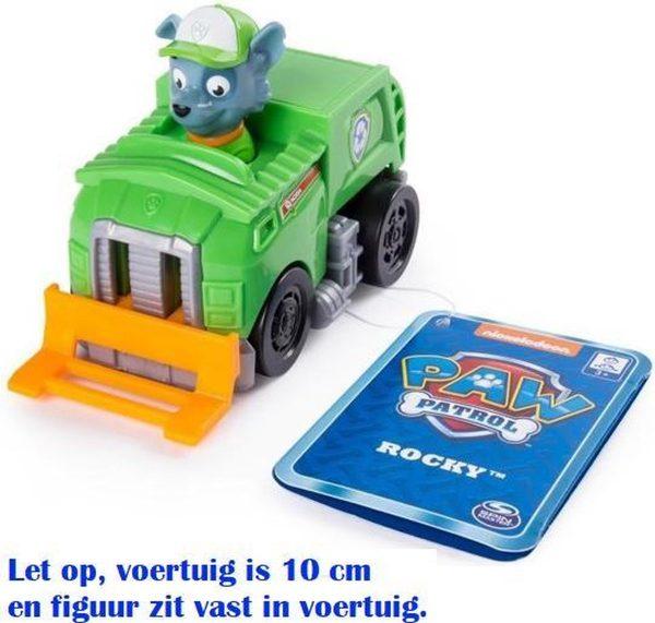 Paw Patrol Rescue Racers - Rocky vuilniswagen met fronthef - 10 cm