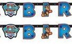 2x Paw Patrol themafeest wenslijn/letterslinger Happy Birthday 180 x 14 cm - Thema feest slinger voor kinderfeestje/verjaardag