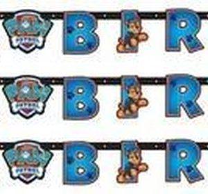 3x Paw Patrol themafeest wenslijn/letterslinger Happy Birthday 180 x 14 cm - Thema feest slinger voor kinderfeestje/verjaardag