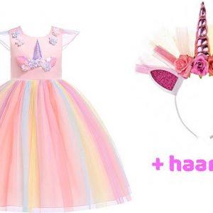 Unicorn Jurk | Eenhoorn Jurk | Prinsessenjurk Meisje | Verkleedkleren Meisje |maat 116/122 (130) |Prinsessen Verkleedkleding | Carnavalskleding Kinderen | + GRATIS Haarband | Roze