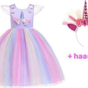 Unicorn Jurk | Eenhoorn Jurk | Prinsessenjurk Meisje | maat 122/128(140)|Verkleedkleren Meisje |Prinsessen Verkleedkleding | Carnavalskleding Kinderen | + GRATIS Haarband |Paars