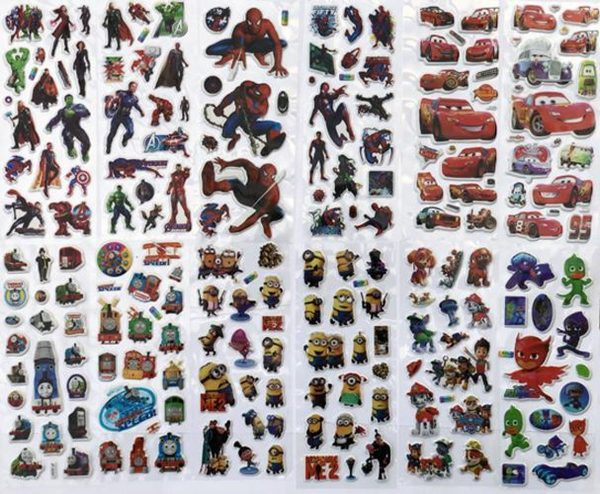 12x 3D Foam Stickervel - 130+ stoere stickers! - TV helden - Stickerset - Disney Cars - Spiderman - Paw Patrol - The Avengers -  Thomas de Trein - Minions - PJ Masks - Kinderen  - School  - TV - Disney Action Figuren - Knutselen - Jongens