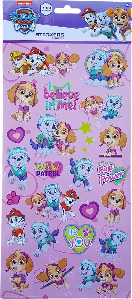 Stickers Paw Patrol Roze +/- 50 stuks