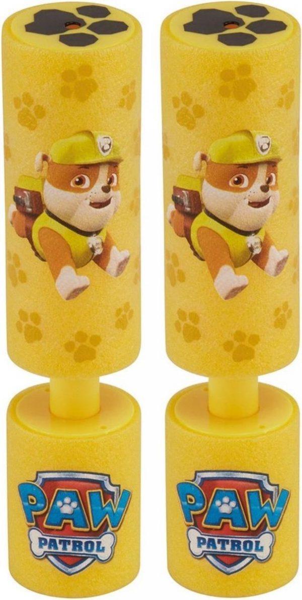 2x Paw Patrol waterpistool/waterpistolen van foam geel - Rubble - 15 cm - Zomerspeelgoed/buitenspeelgoed