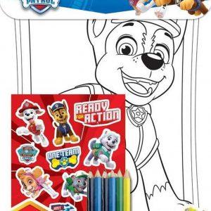 NICKELODEON - paw patrol kleurboek met kleurpotloden en stickers - kleurplaten