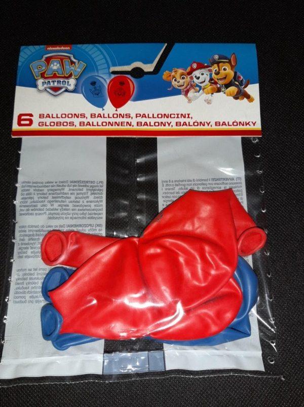 Ballonnen 6 stuks diameter 21 cm Paw Patrol